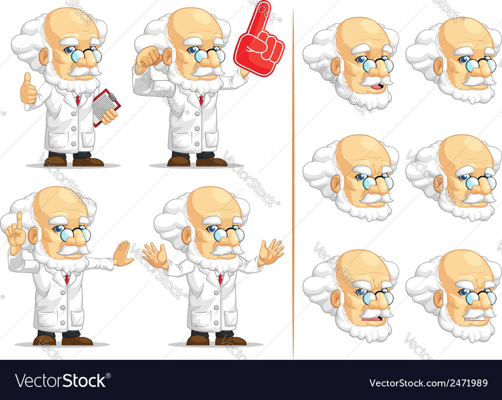 Scientist or professor customizable mascot 4 vector | Price: 1 Credit (USD $1)
