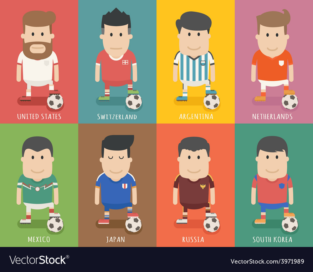 Set of national soccer team uniform football play vector | Price: 1 Credit (USD $1)