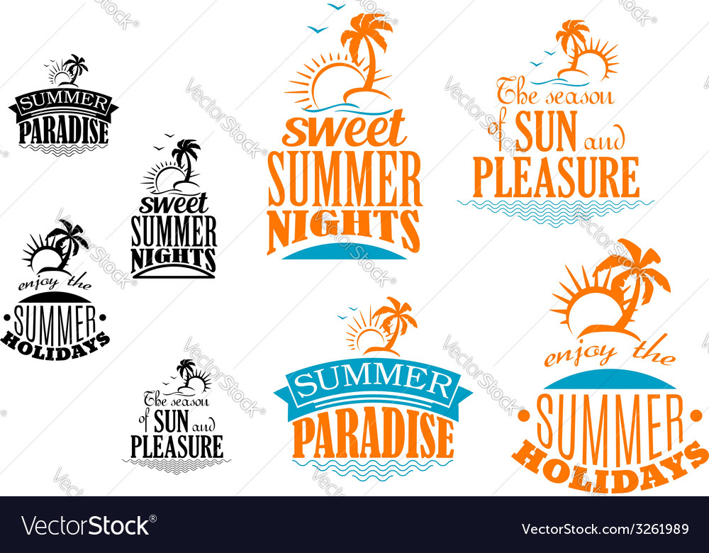 Set of summer vacation icons vector | Price: 1 Credit (USD $1)