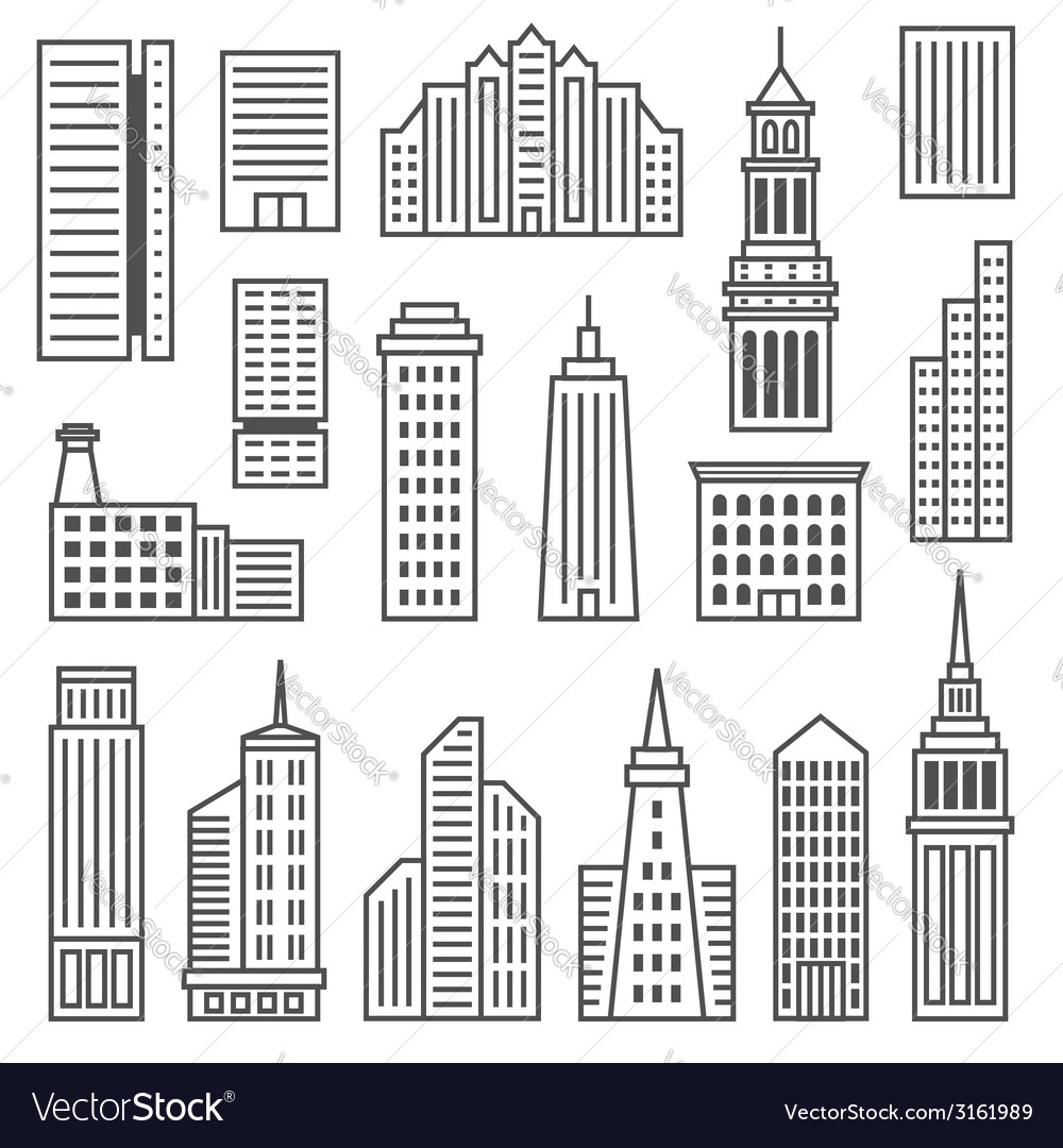 Skyscrapers icons modern gray silhouettes of vector | Price: 1 Credit (USD $1)