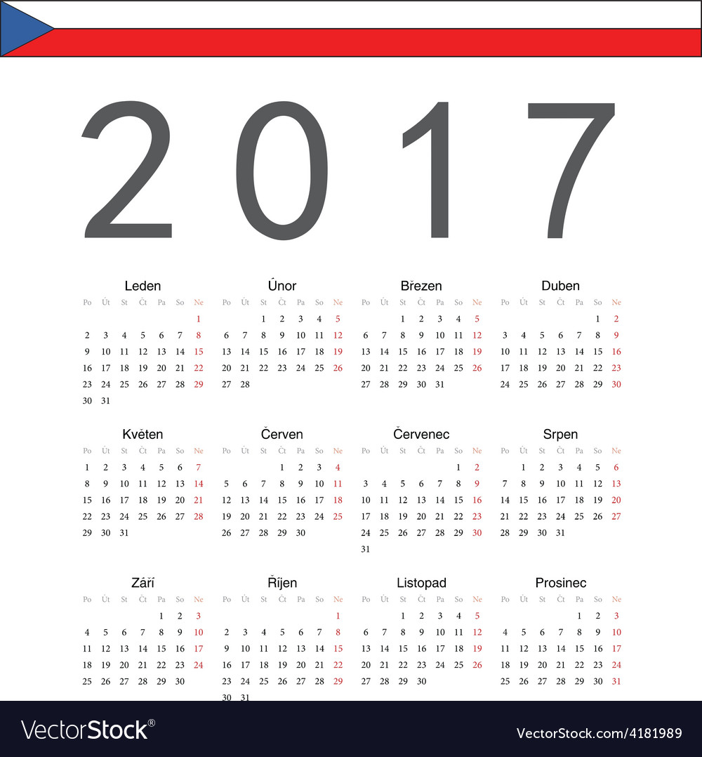 Square czech 2017 year calendar vector | Price: 1 Credit (USD $1)