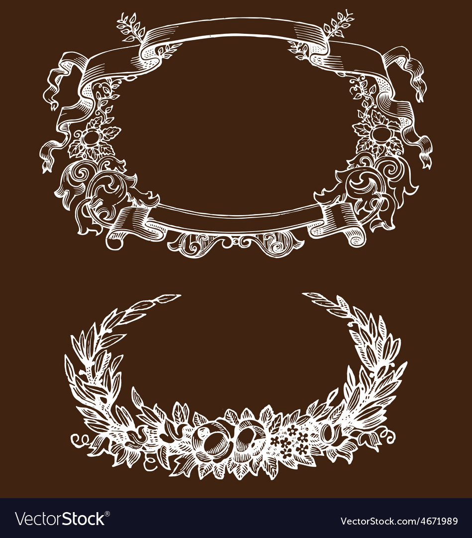 Vintage floral decorative design elements vector | Price: 1 Credit (USD $1)