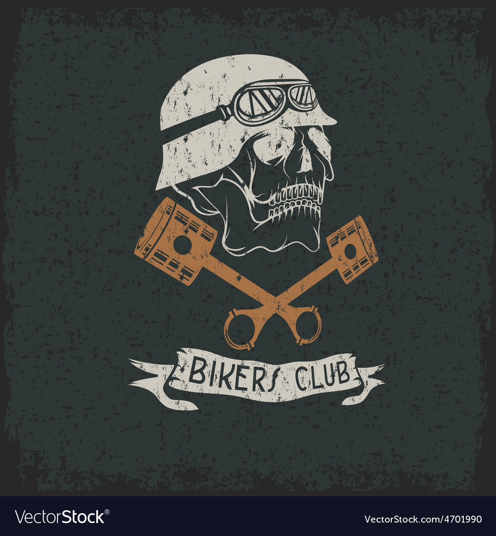 Biker theme label with pistons and skulls vector | Price: 1 Credit (USD $1)