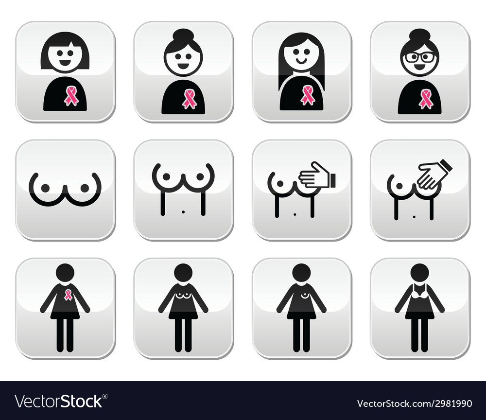 Breast cancer woman with pink ribbon buttons set vector | Price: 1 Credit (USD $1)