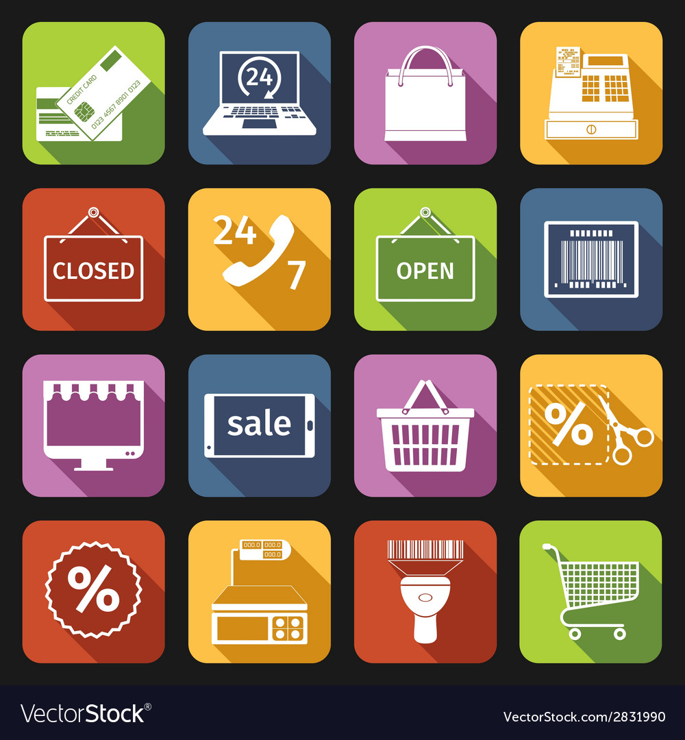 E-commerce icons set flat vector | Price: 1 Credit (USD $1)