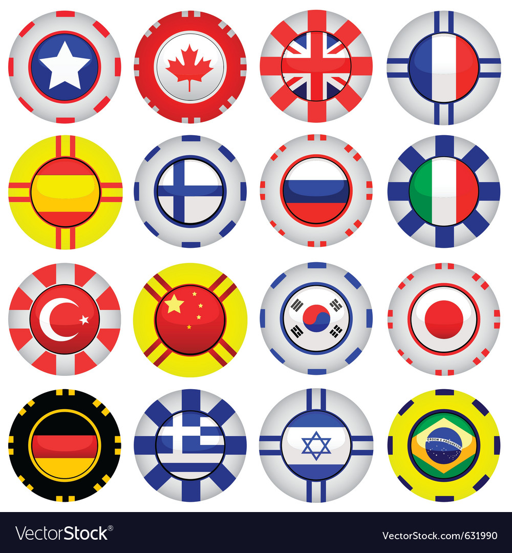 Flags on casino tokens vector | Price: 1 Credit (USD $1)