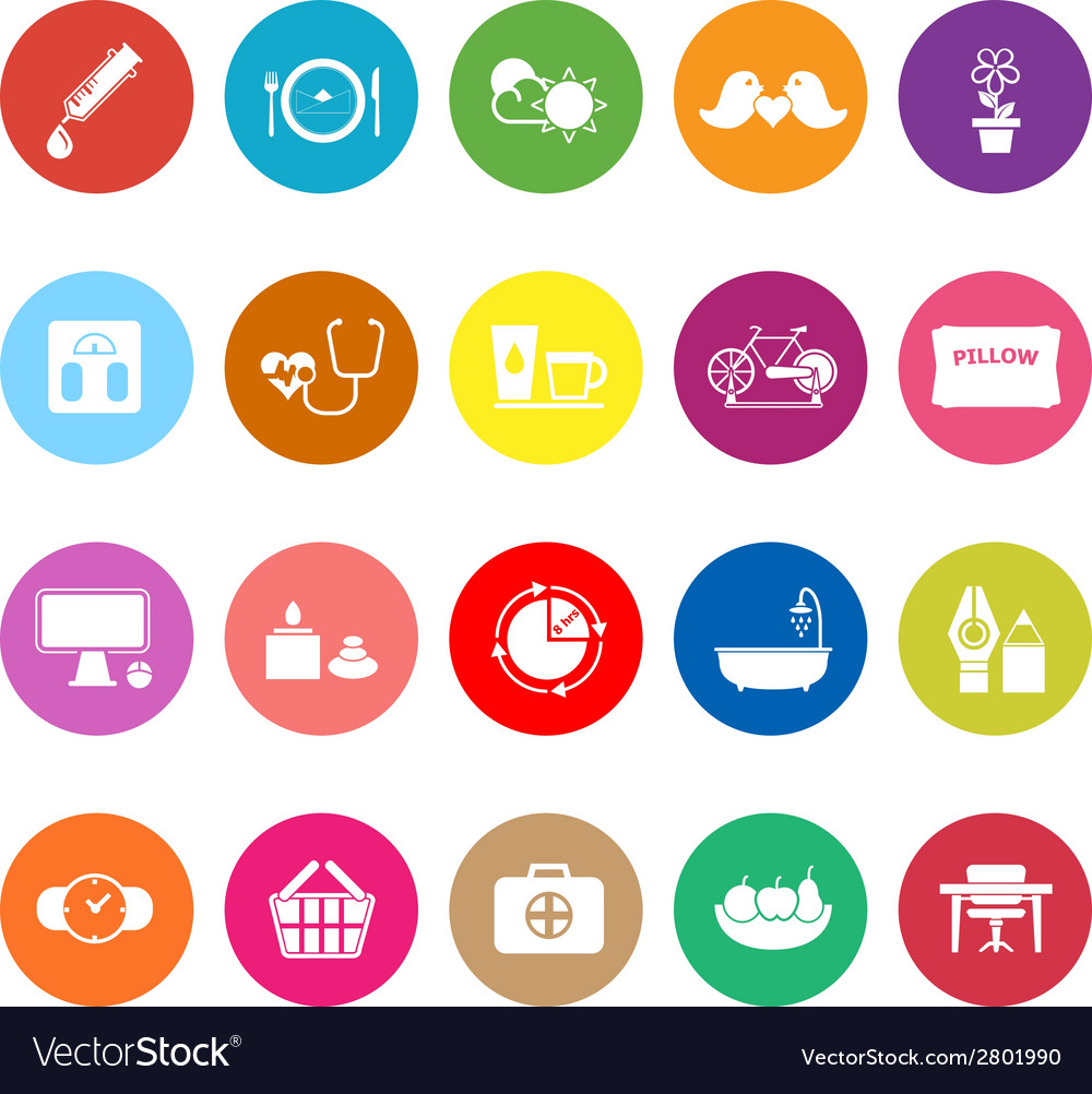 Health behavior flat icons on white background vector | Price: 1 Credit (USD $1)