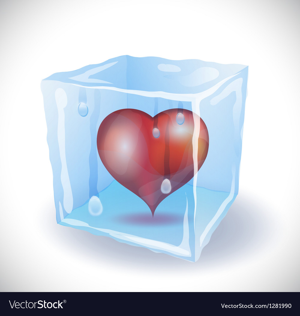Ice cube with heart vector   Price: 1 Credit (USD $1)