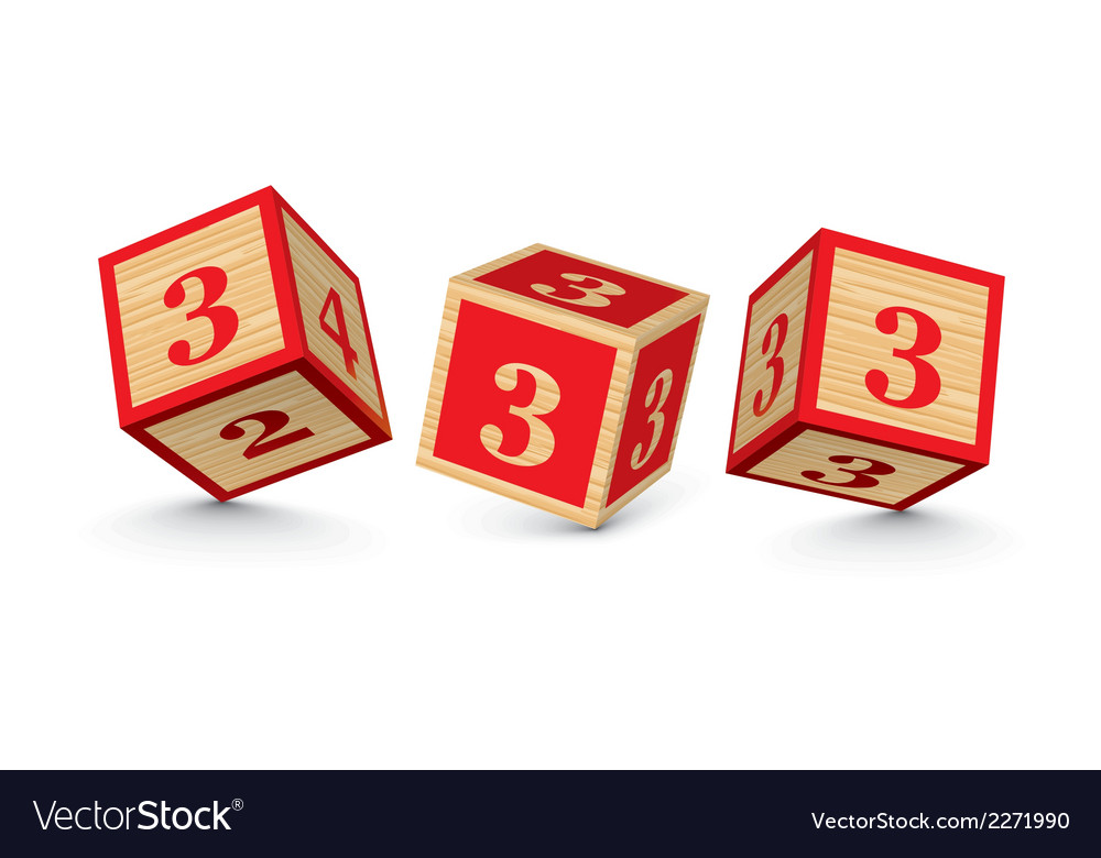 Number 3 wooden alphabet blocks vector | Price: 1 Credit (USD $1)
