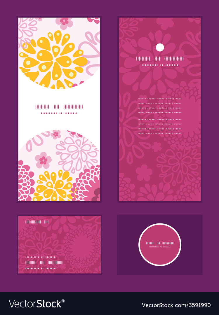 Pink field flowers vertical frame pattern vector | Price: 1 Credit (USD $1)