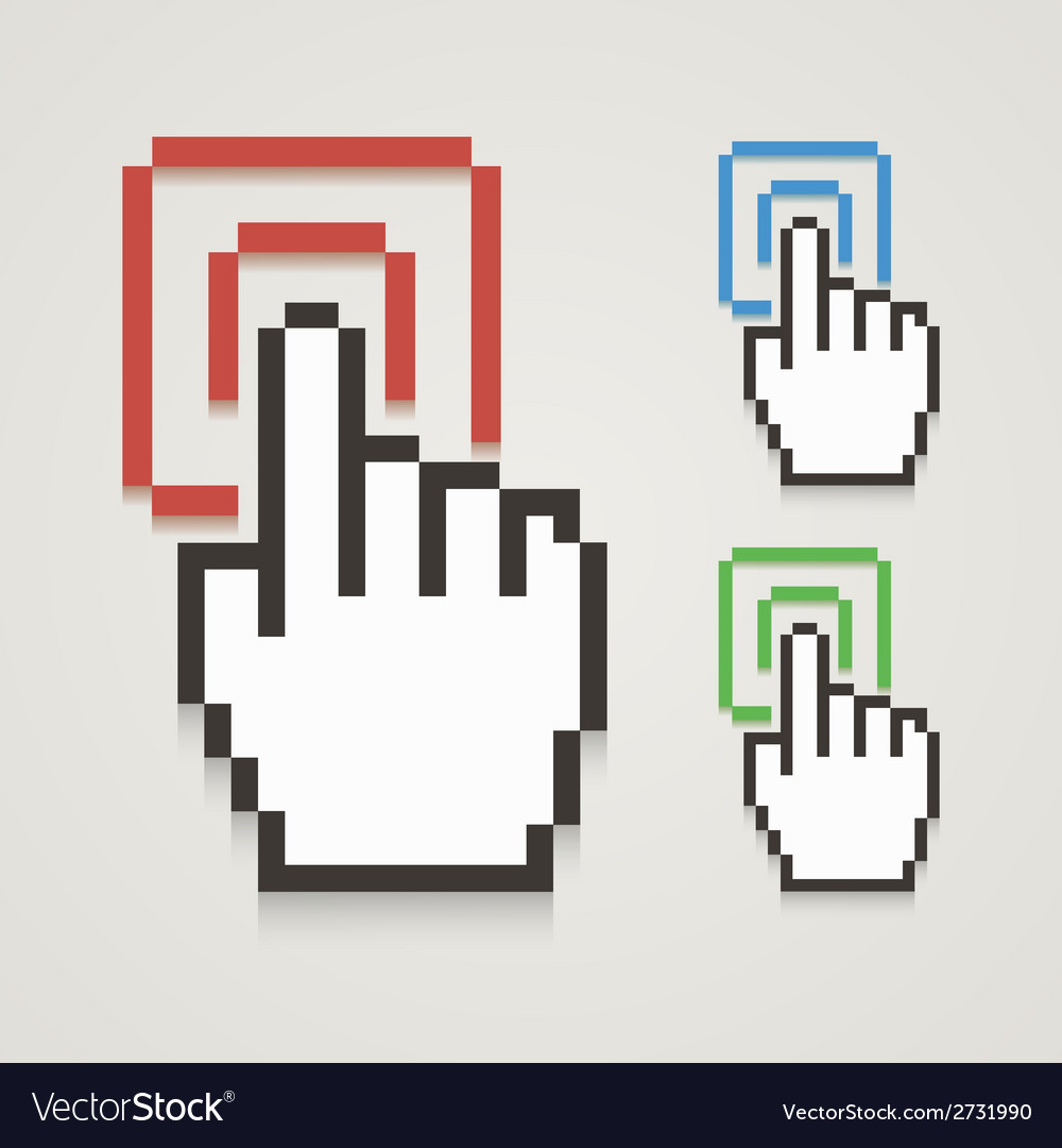 Pixel hand cursor with touching vector | Price: 1 Credit (USD $1)