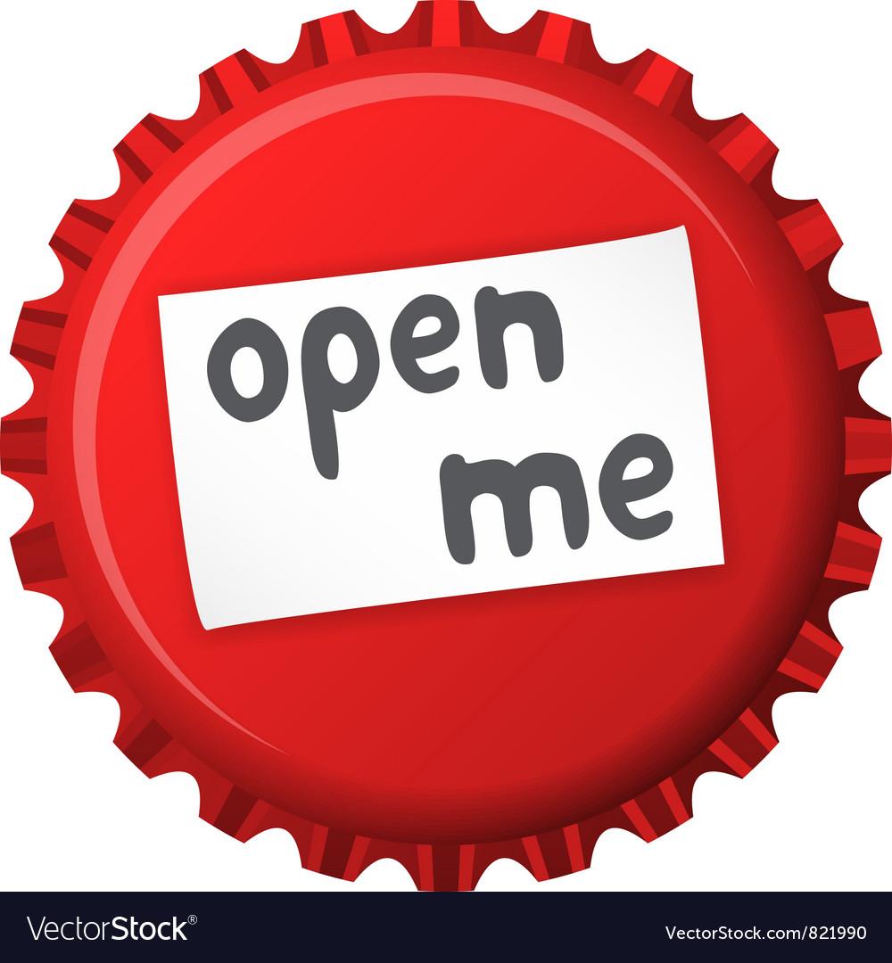 Red bottle cap open me vector | Price: 1 Credit (USD $1)