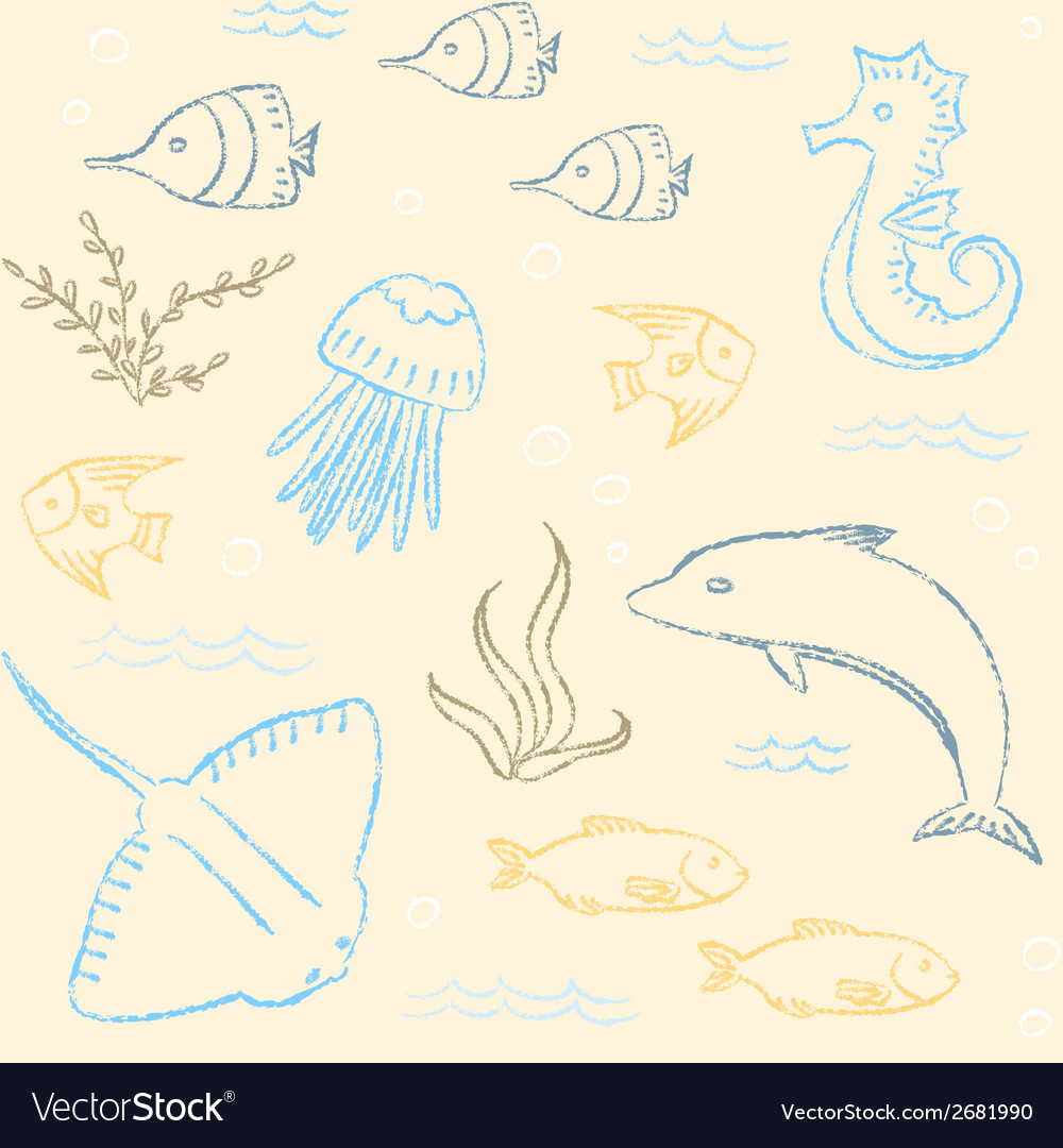 Sealife hand drawn seamless pattern vector | Price: 1 Credit (USD $1)