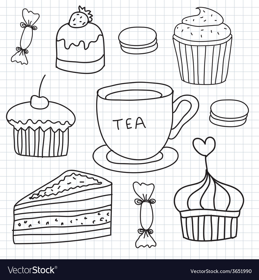 Set of hand drawn cakes sweets tea cup vector | Price: 1 Credit (USD $1)