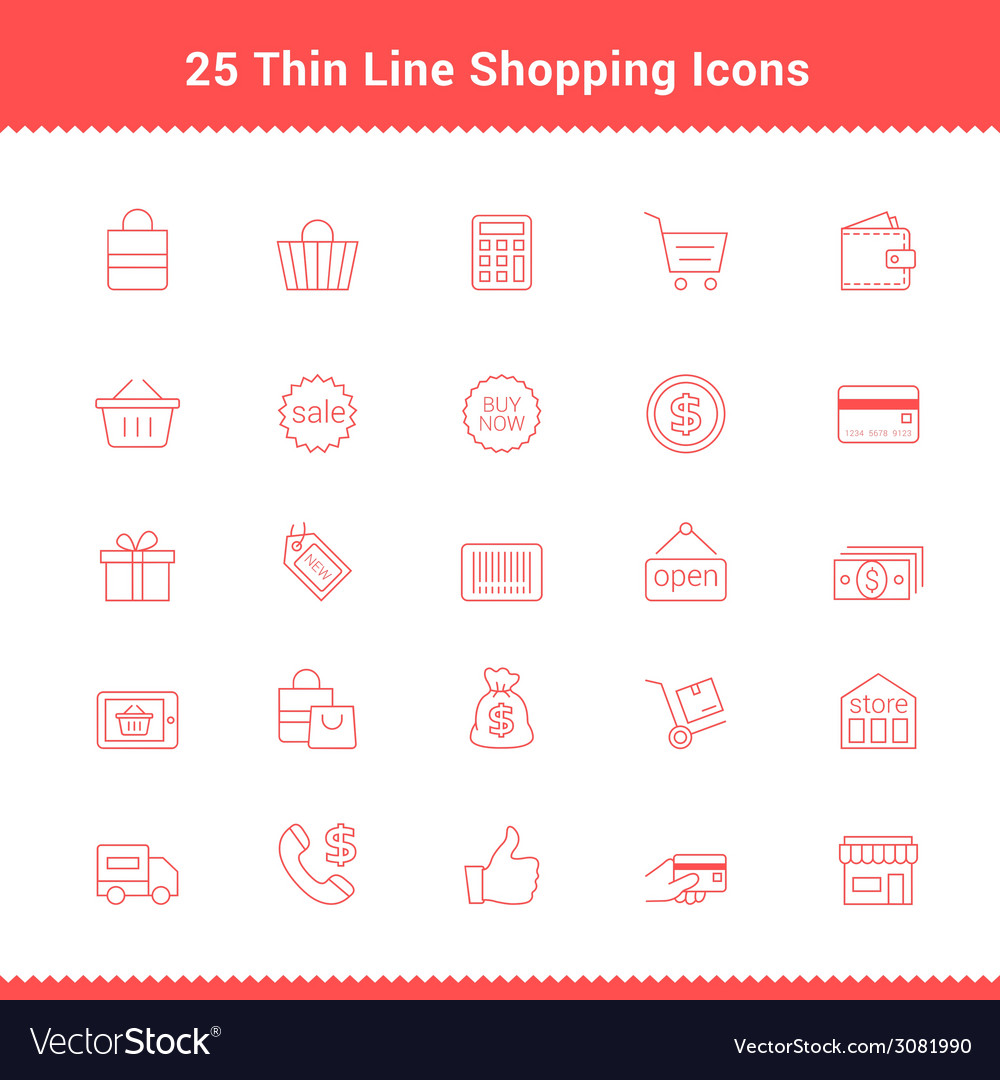 Set of thin line stroke shopping icons vector | Price: 1 Credit (USD $1)
