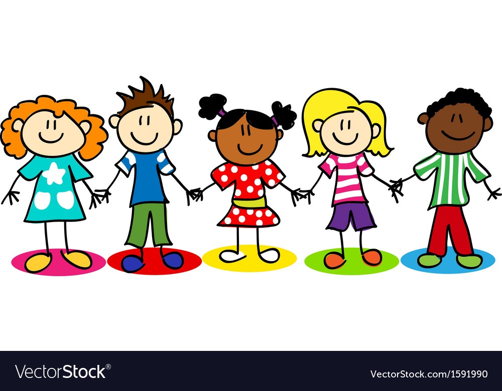 Stick-figure-ethnic-diversity-kids-t vector | Price: 1 Credit (USD $1)