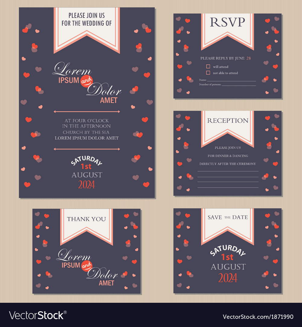 Wedding inwitation cards with hearts vector | Price: 1 Credit (USD $1)