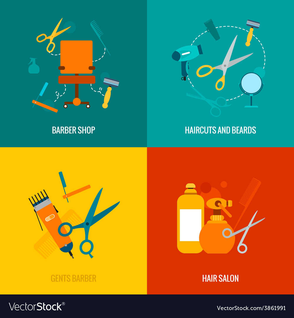 Barber shop flat icons composition vector | Price: 1 Credit (USD $1)
