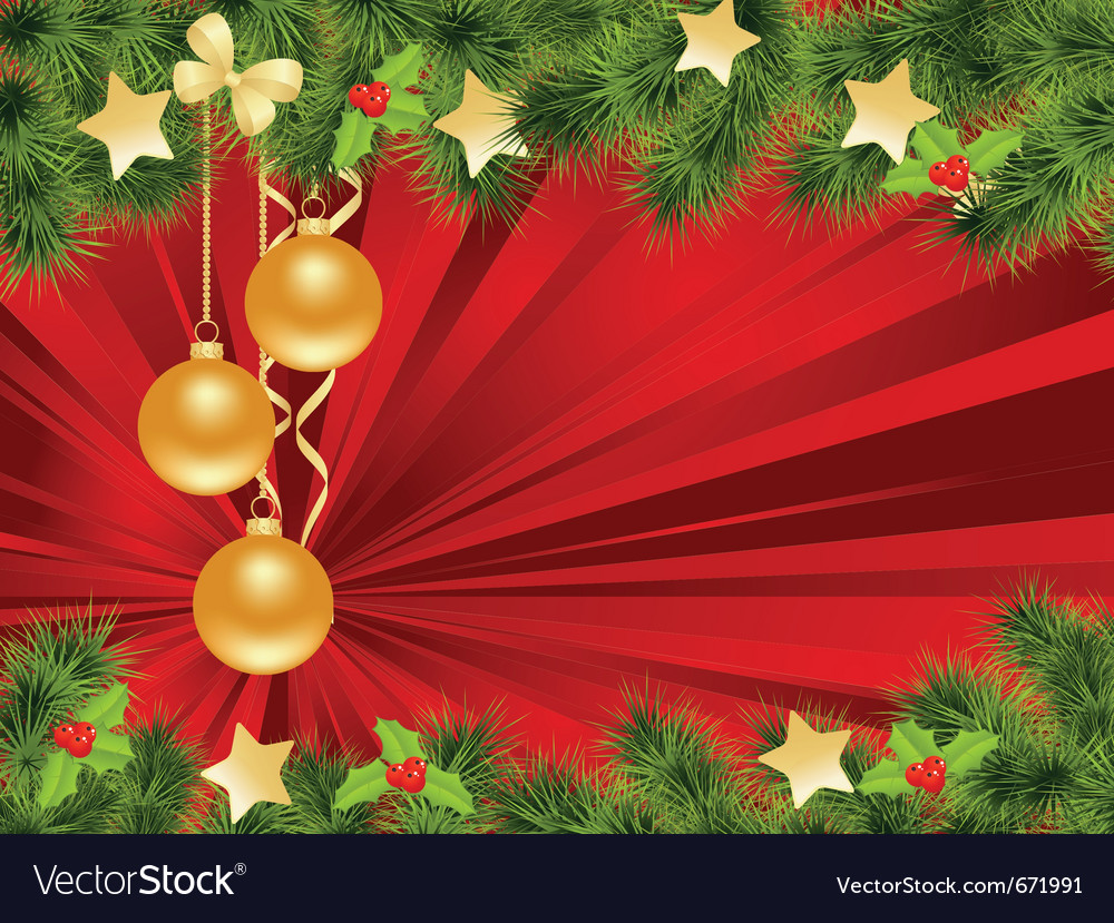 Christmas background with decorations vector | Price: 1 Credit (USD $1)