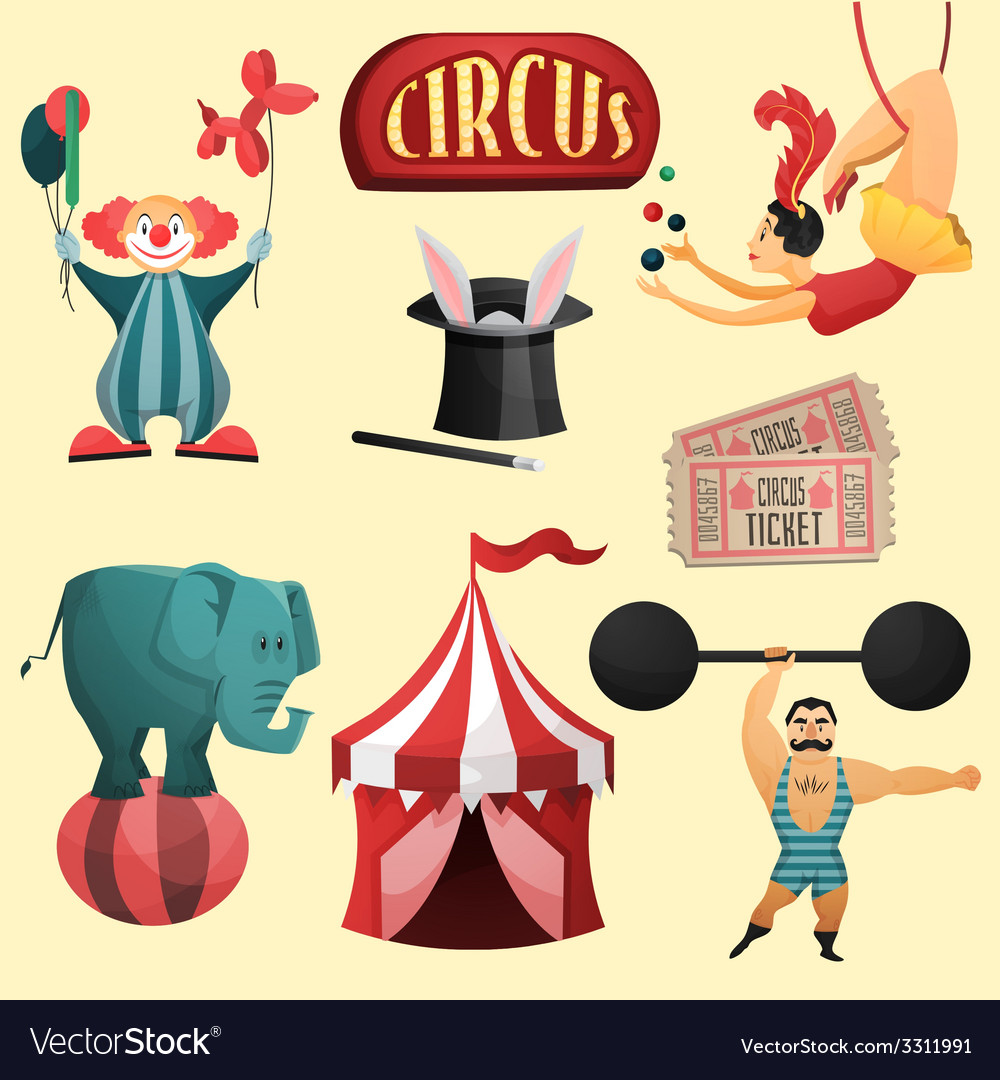 Circus decorative set vector | Price: 1 Credit (USD $1)