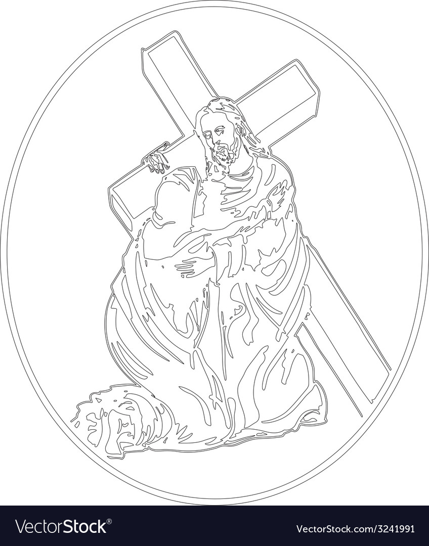Jesus cross bearing vector | Price: 1 Credit (USD $1)