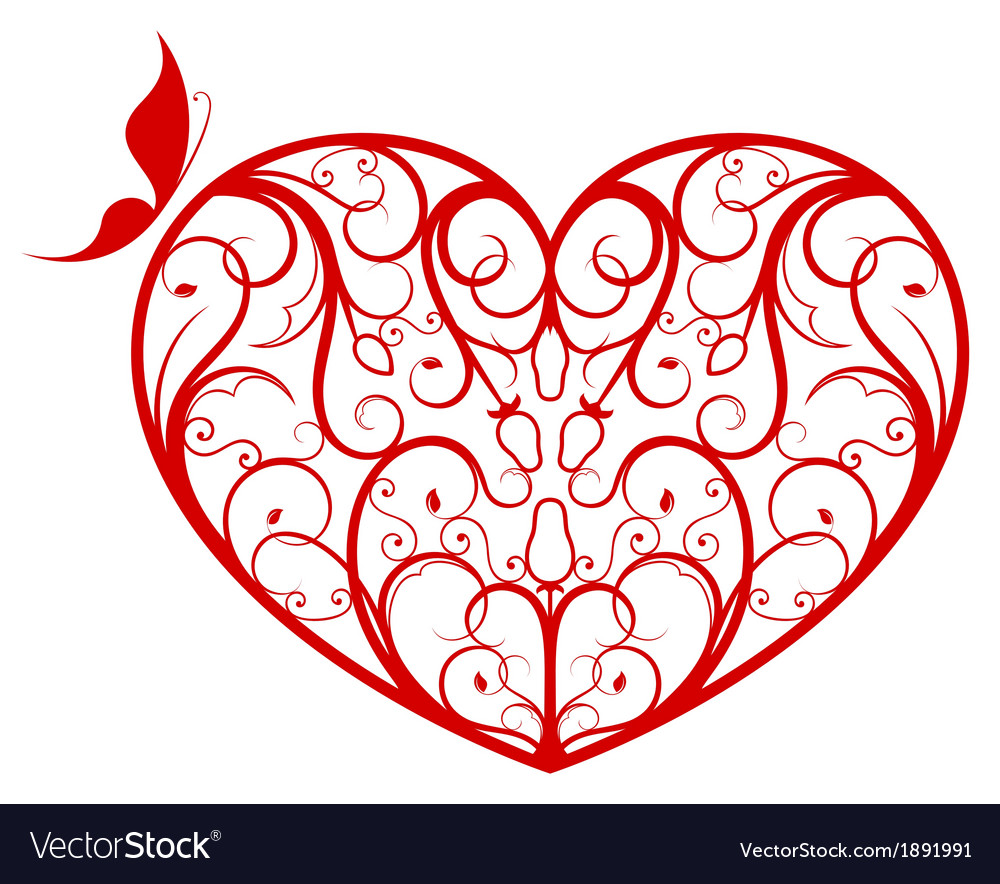 Ornate heart vector | Price: 1 Credit (USD $1)