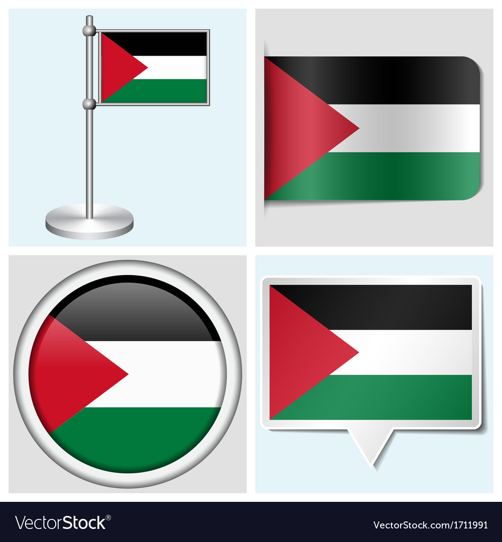Palestine flag - sticker button label flagstaff vector | Price: 1 Credit (USD $1)