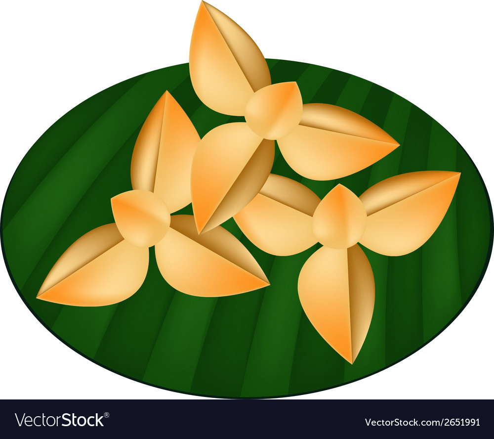 Thai shortbread cookies on green banana leaf vector | Price: 1 Credit (USD $1)