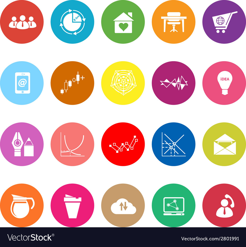 Virtual organization flat icons on white vector | Price: 1 Credit (USD $1)