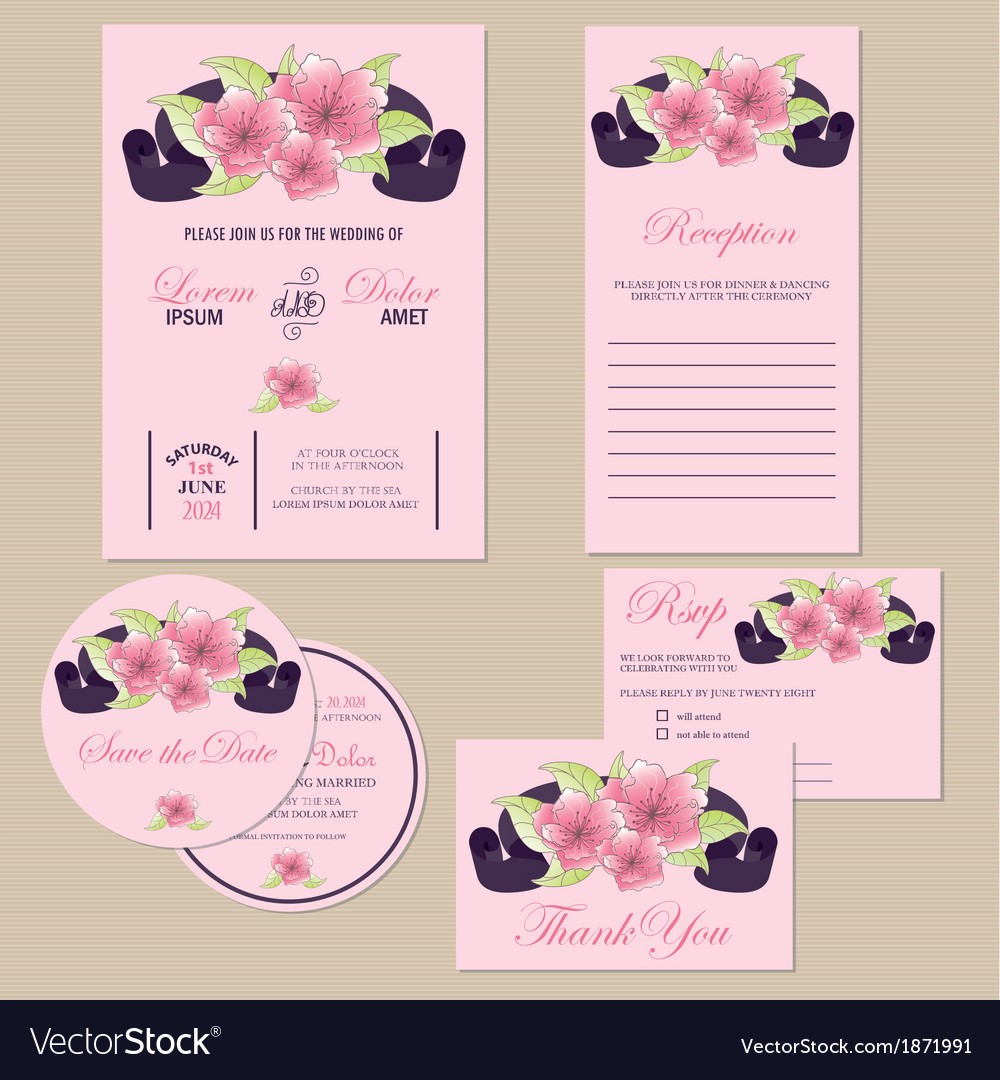 Wedding invitation set with ribbon vector | Price: 1 Credit (USD $1)