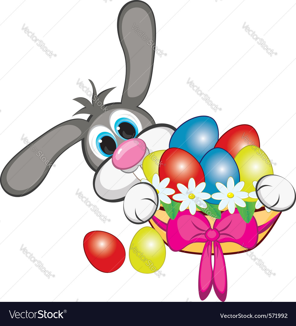 Bunny with easter eggs vector | Price: 1 Credit (USD $1)