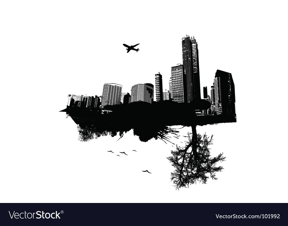 City vs nature vector | Price: 1 Credit (USD $1)