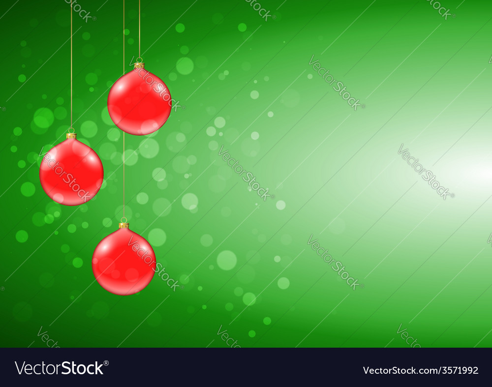 Green christmas card with shiny red baubles vector   Price: 1 Credit (USD $1)