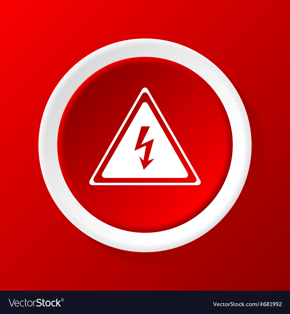 High voltage icon on red vector | Price: 1 Credit (USD $1)