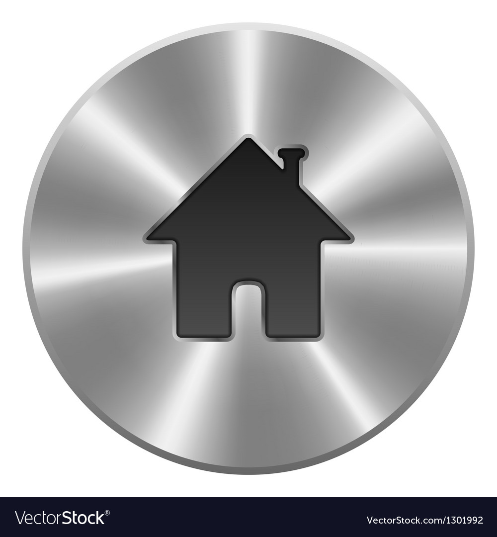 Home button icon metal round isolated on white vector | Price: 1 Credit (USD $1)