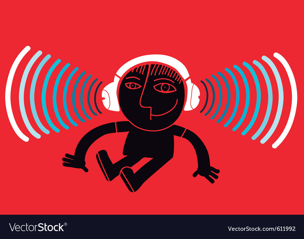 Kid with headphones vector | Price: 1 Credit (USD $1)