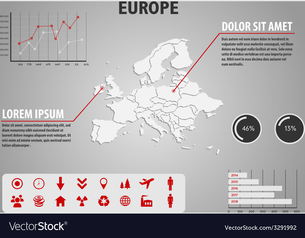 Map of europe - infographic vector | Price: 1 Credit (USD $1)