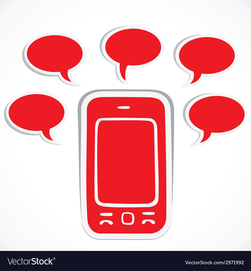 Red mobile with message bubble vector | Price: 1 Credit (USD $1)