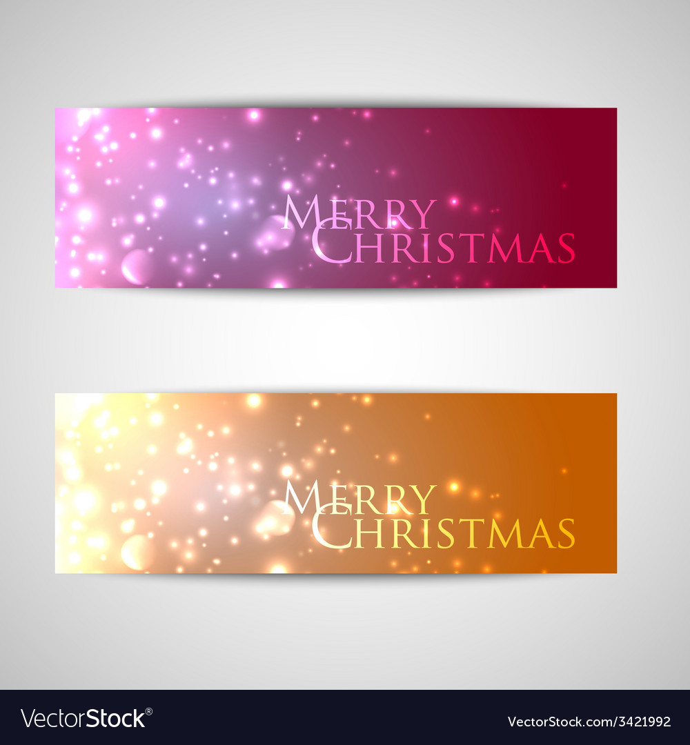 Set of elegant christmas banners with sparkles vector | Price: 1 Credit (USD $1)