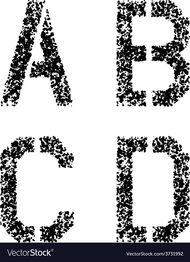 Stencil angular spray font letters a b c d vector   Price: 1 Credit (USD $1)