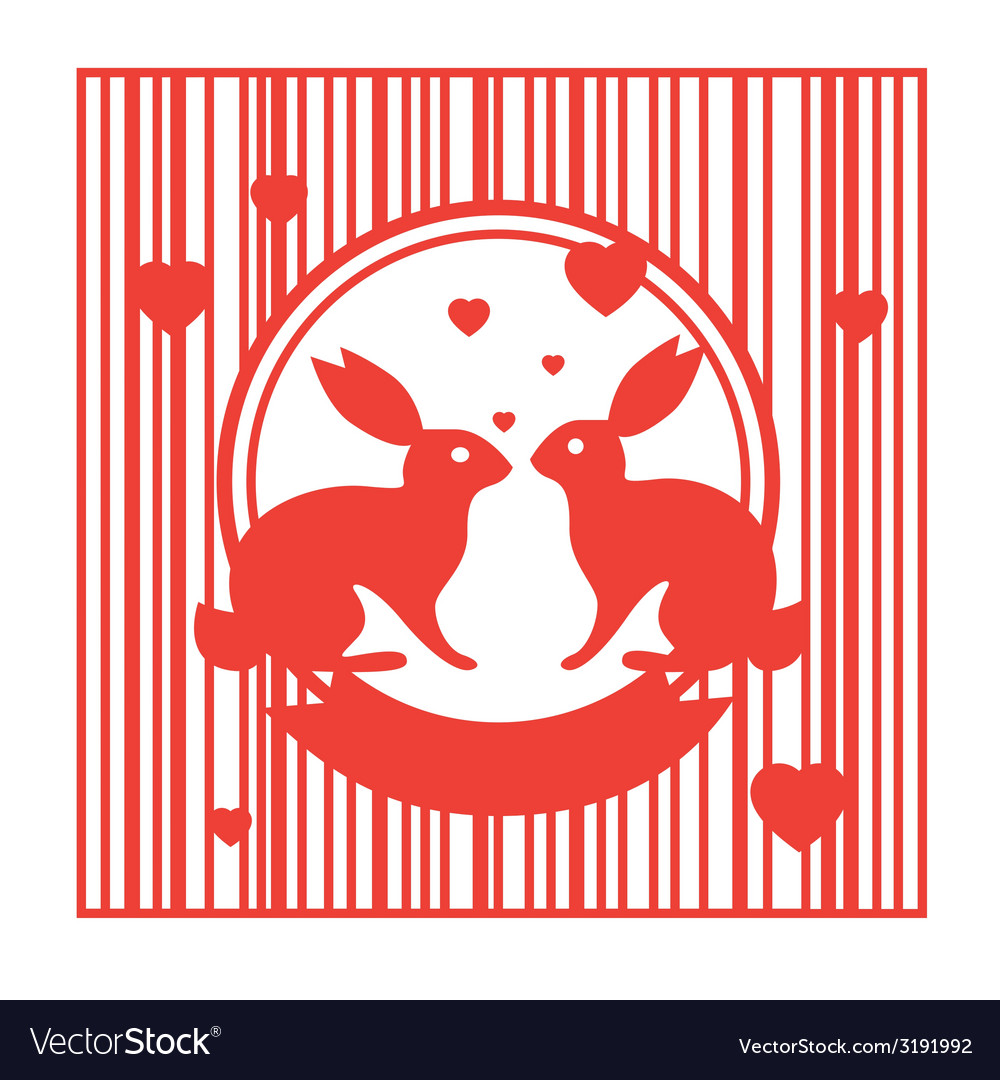 Valentive stamp design with rabbits vector | Price: 1 Credit (USD $1)