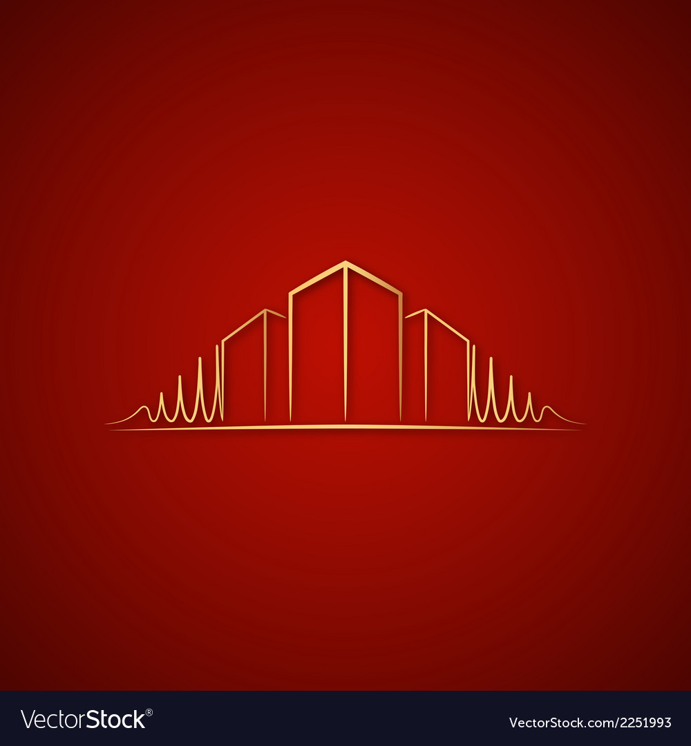 Architect logo over red vector | Price: 1 Credit (USD $1)