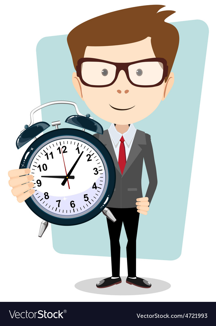 Businessman holding a clock vector | Price: 1 Credit (USD $1)