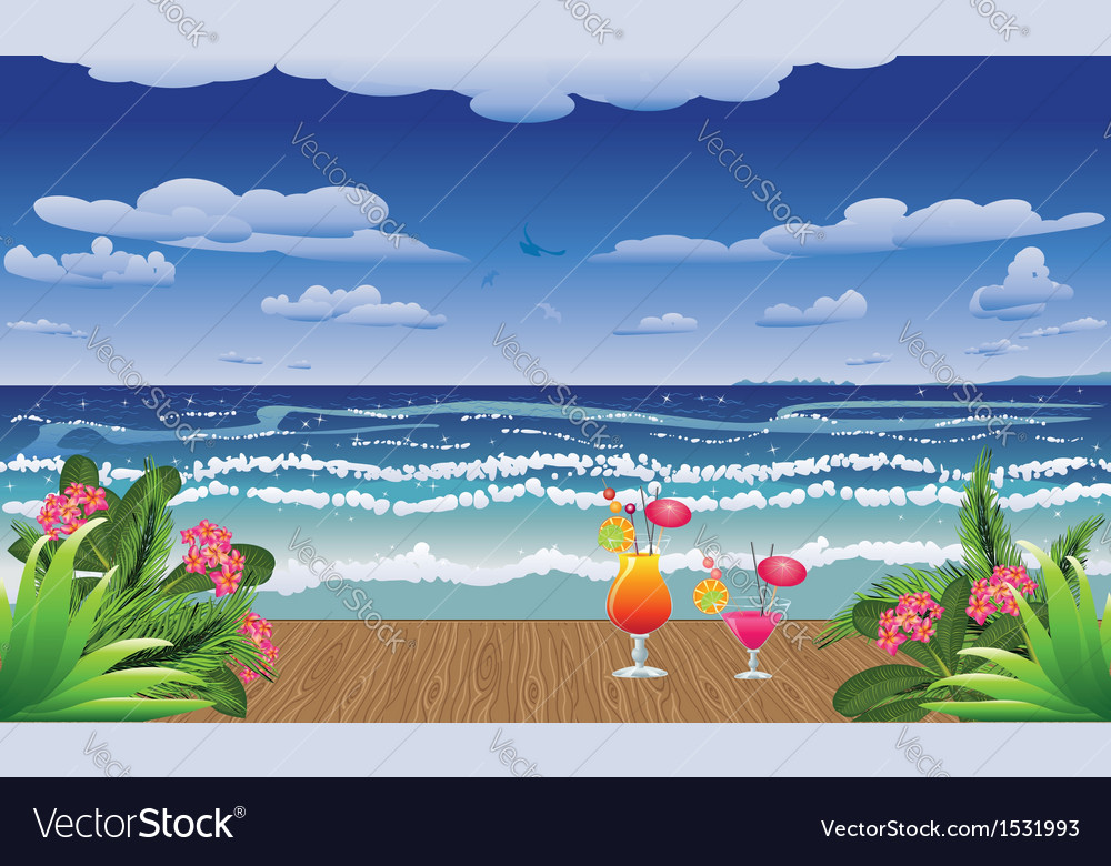 Cocktails on jetty vector | Price: 3 Credit (USD $3)