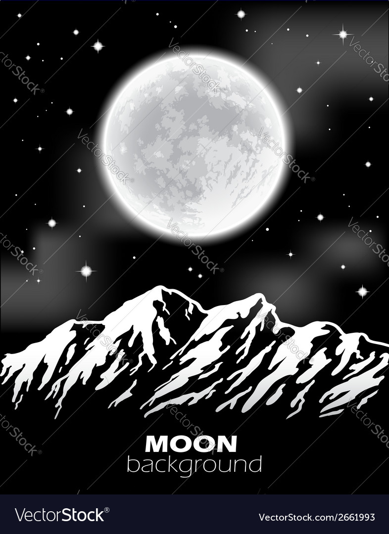 Full moon over mountains night landscape vector | Price: 1 Credit (USD $1)