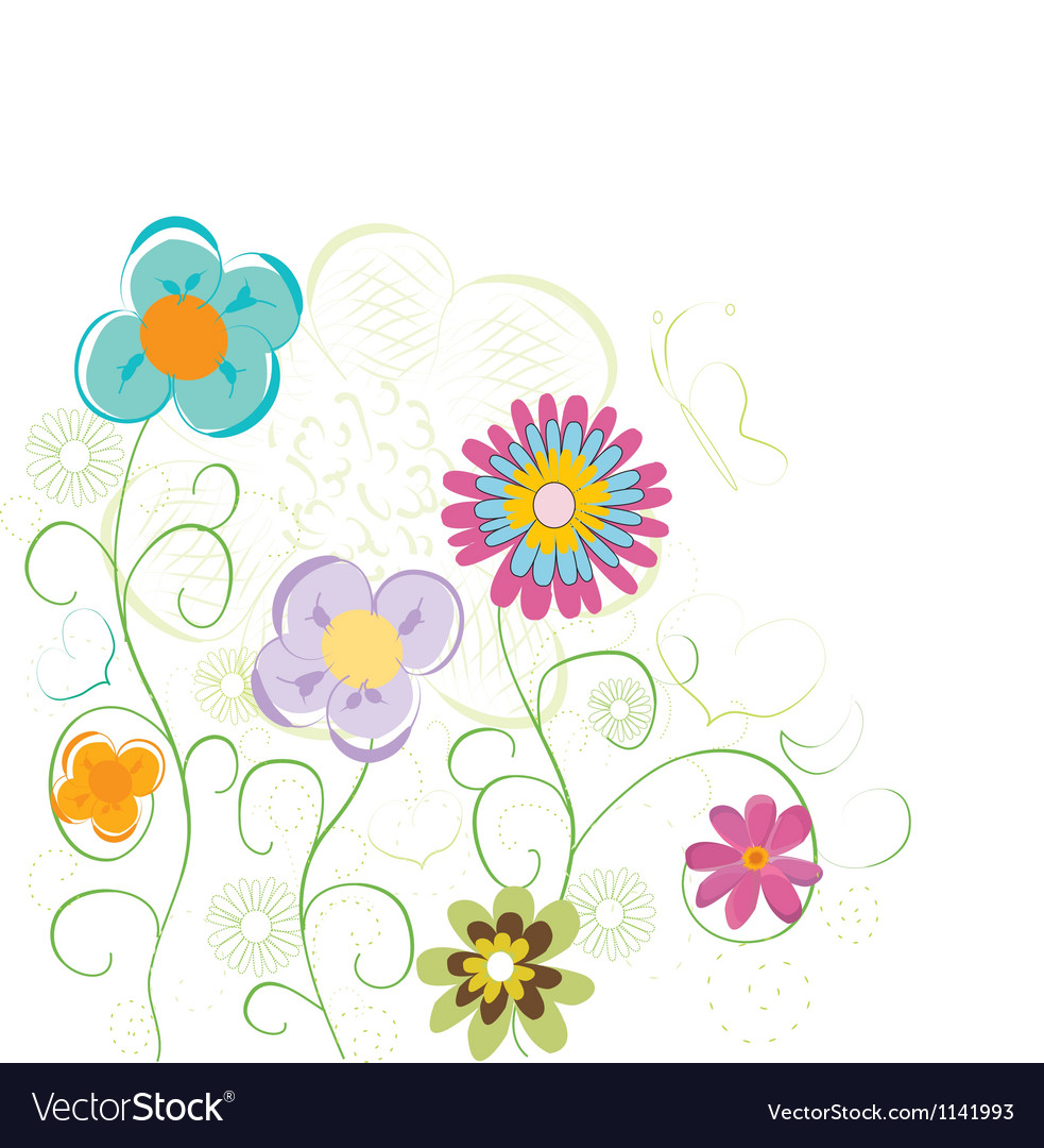 Fun cute flowers vector | Price: 1 Credit (USD $1)