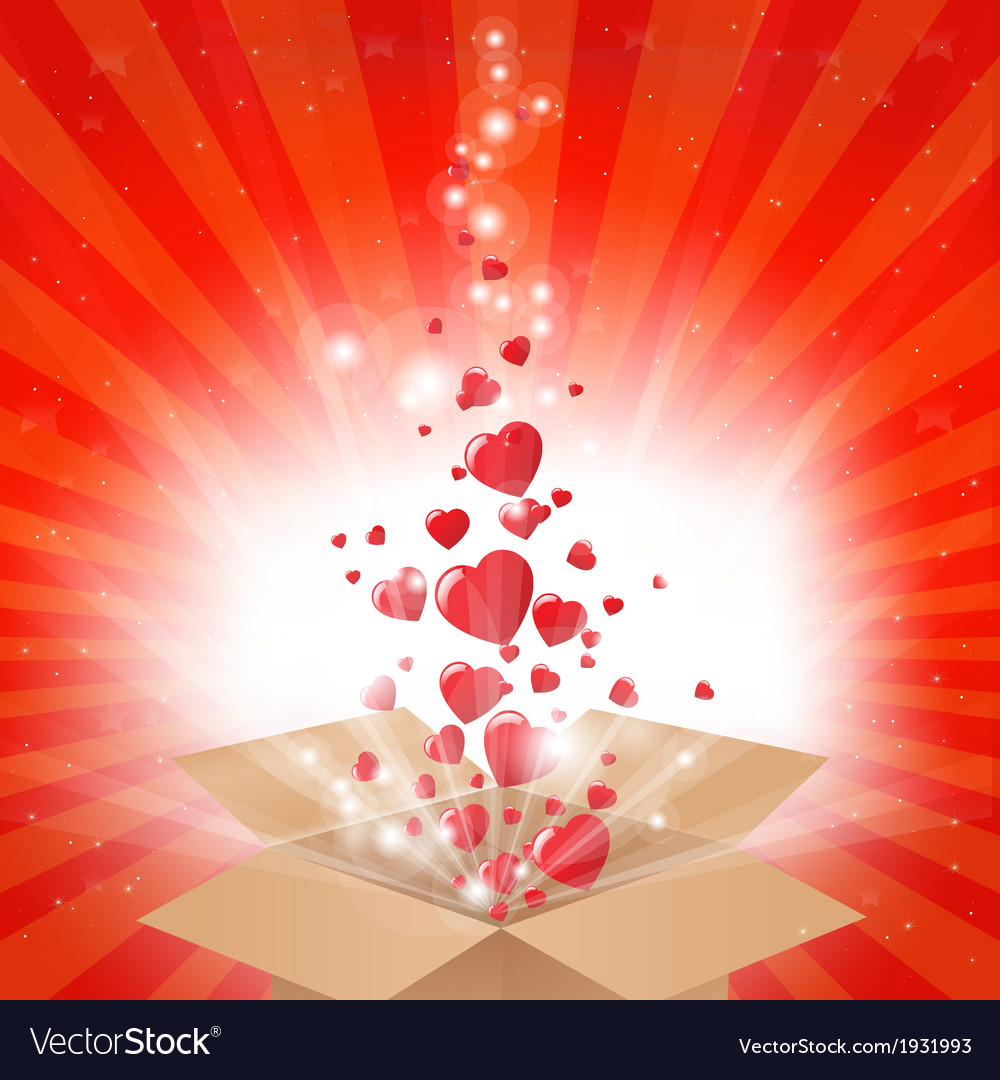Gift box with stars and hearts vector | Price: 1 Credit (USD $1)