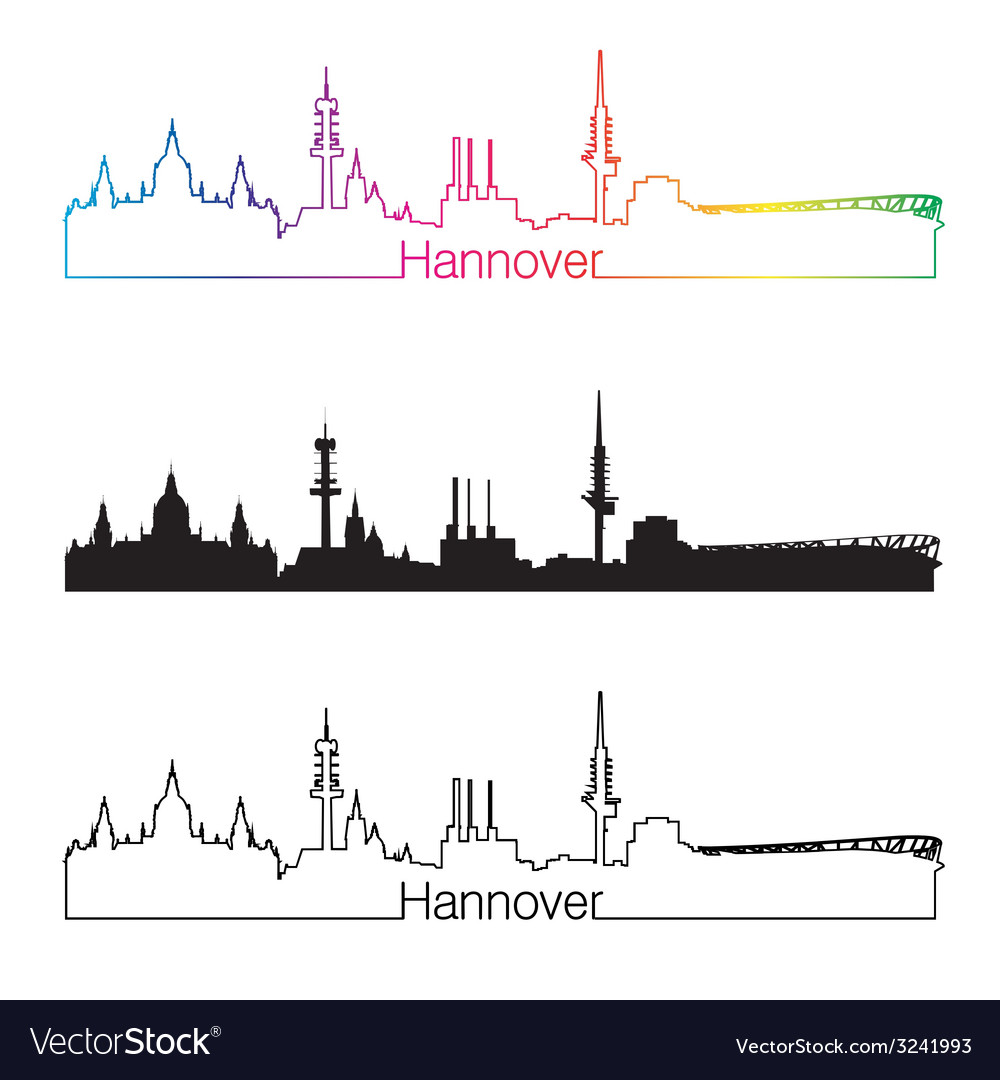 Hannover skyline linear style with rainbow vector | Price: 1 Credit (USD $1)
