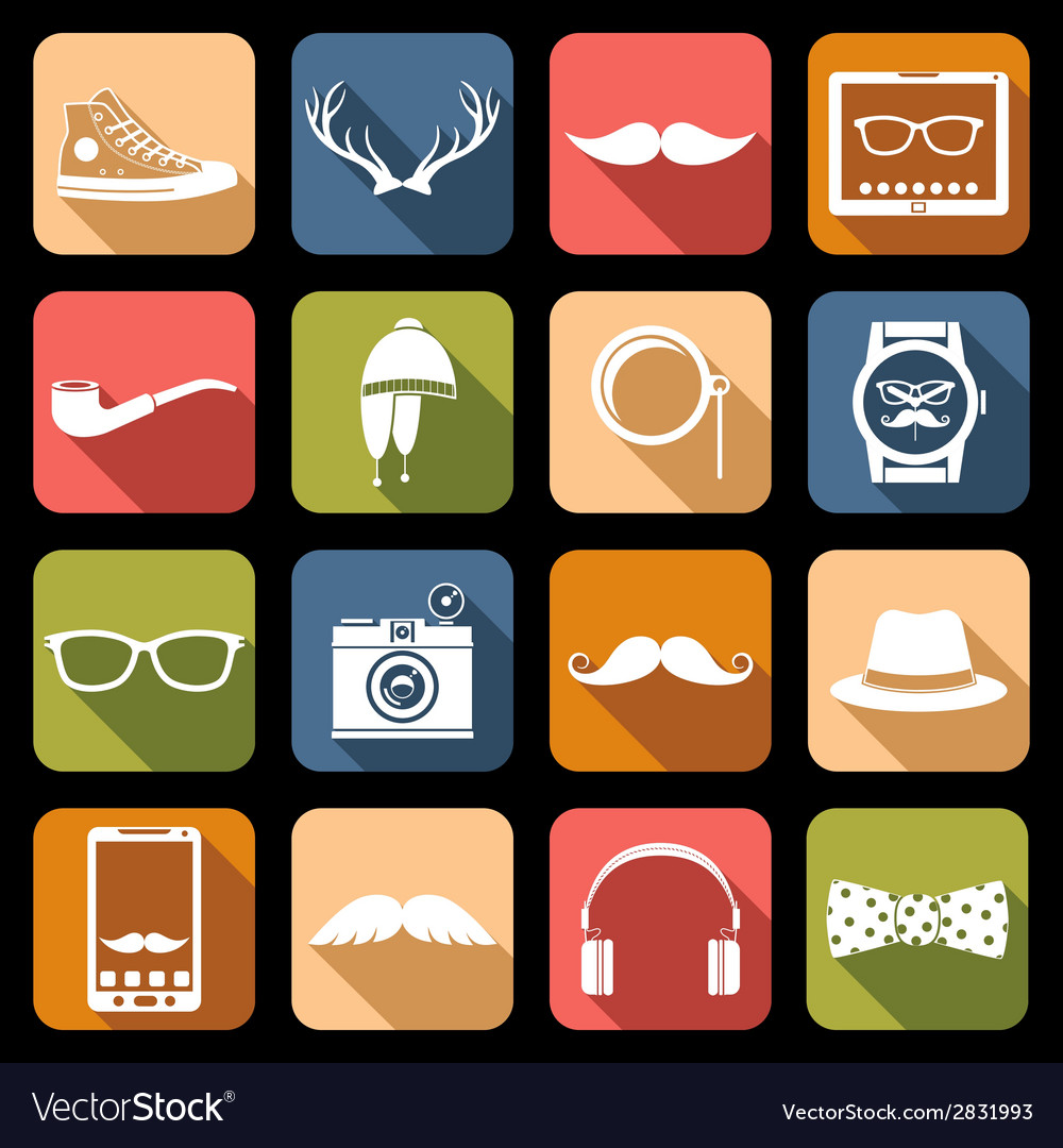 Hipster icons flat vector | Price: 1 Credit (USD $1)