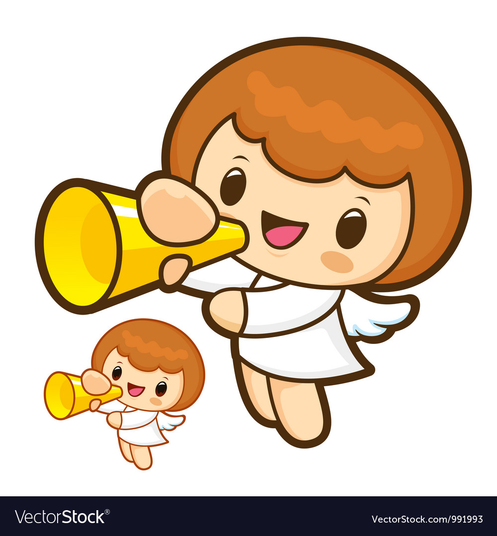 Loudspeaker announcements angel character vector | Price: 3 Credit (USD $3)